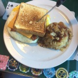 Breakfast sandwich and mashed taters